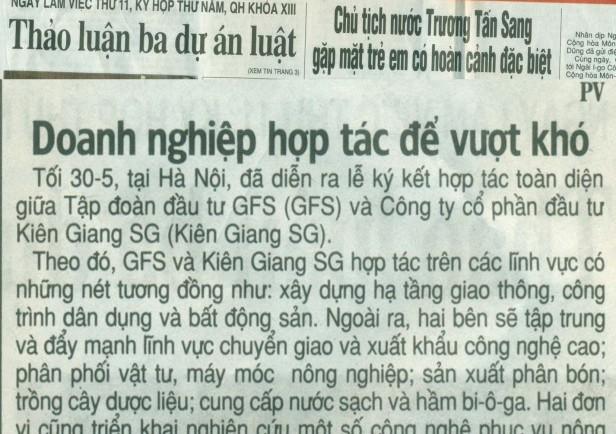 Tin báo Nhân dân - Lễ ký kết hợp đồng toàn diện giữa Tập đoàn GFS và Kiên Giang SG