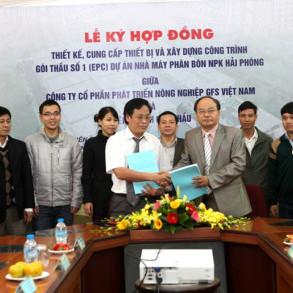 Lễ ký kết công bố gói thầu số 1 (EPC) giữa Công ty cổ phần phát triển nông nghiệp GFS Việt Nam và các nhà thầu liên doanh